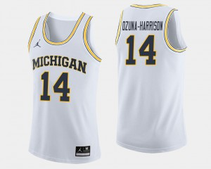 #14 Rico Ozuna-Harrison Michigan Wolverines College Basketball Men Jersey - White