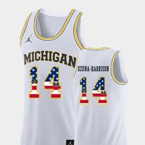 #14 Rico Ozuna-Harrison Michigan Wolverines For Men's College Basketball USA Flag Jersey - White