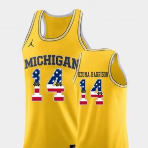 #14 Rico Ozuna-Harrison Michigan Wolverines For Men's College Basketball USA Flag Jersey - Yellow