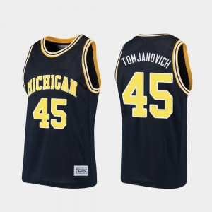 #45 Rudy Tomjanovich Michigan Wolverines Alumni For Men's Basketball Jersey - Navy