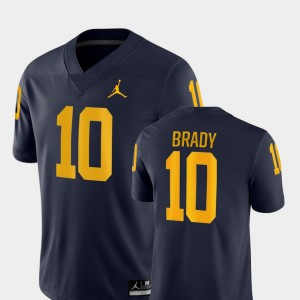 #10 Tom Brady Michigan Wolverines For Men's College Football Game Jersey - Navy