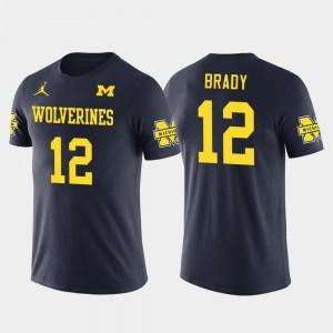 #12 Tom Brady Michigan Wolverines New England Patriots Football Future Stars For Men T-Shirt - Navy
