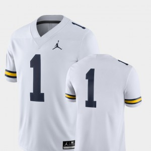 #1 Michigan Wolverines College Football Mens 2018 Game Jersey - White