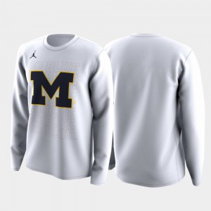 Michigan Wolverines Family on Court Mens March Madness Legend Basketball Long Sleeve T-Shirt - White