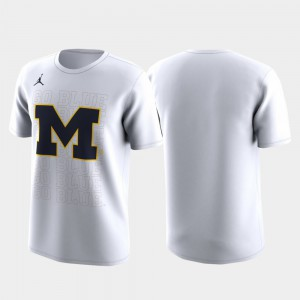 Michigan Wolverines Men's March Madness Legend Basketball Performance Family on Court T-Shirt - White