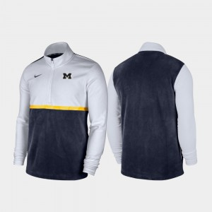 Michigan Wolverines For Men Quarter-Zip Pullover Color Block Jacket - White Navy