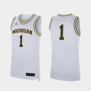 #1 Michigan Wolverines For Men College Basketball Replica Jersey - White