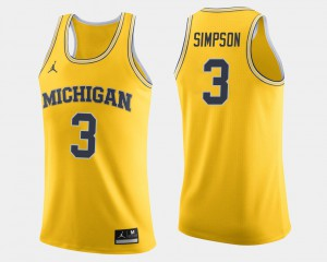 #3 Zavier Simpson Michigan Wolverines College Basketball For Men Jersey - Maize