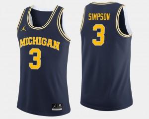 #3 Zavier Simpson Michigan Wolverines Men's College Basketball Jersey - Navy