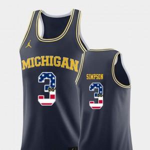 #3 Zavier Simpson Michigan Wolverines College Basketball USA Flag Men's Jersey - Navy