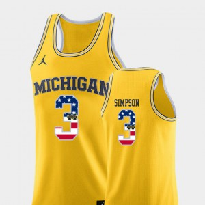 #3 Zavier Simpson Michigan Wolverines College Basketball USA Flag Men's Jersey - Yellow