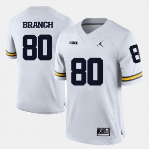 #80 Alan Branch Michigan Wolverines College Football Mens Jersey - White