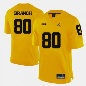 #80 Alan Branch Michigan Wolverines College Football For Men's Jersey - Yellow