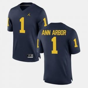 #1 Ann Arbor Michigan Wolverines Men's Alumni Football Game Jersey - Navy