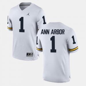 #1 Ann Arbor Michigan Wolverines For Men's Alumni Football Game Jersey - White