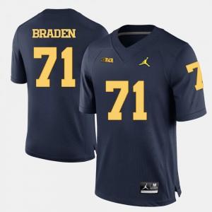 #71 Ben Braden Michigan Wolverines Men's College Football Jersey - Navy Blue