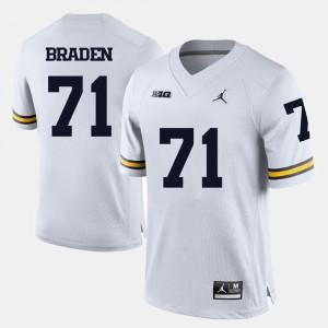 #71 Ben Braden Michigan Wolverines For Men's College Football Jersey - White