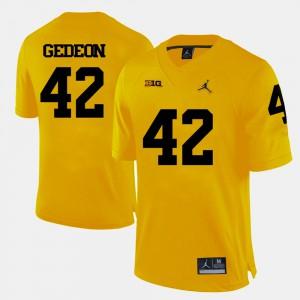 #42 Ben Gedeon Michigan Wolverines Men's College Football Jersey - Yellow