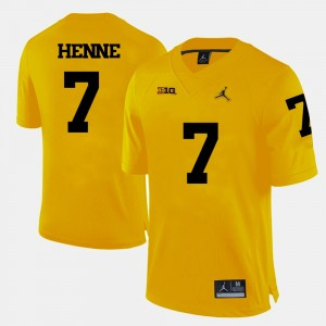 #7 Chad Henne Michigan Wolverines Men College Football Jersey - Yellow