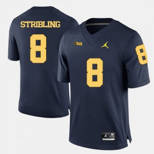 #8 Channing Stribling Michigan Wolverines College Football For Men Jersey - Navy Blue