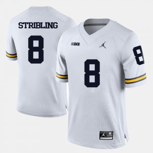 #8 Channing Stribling Michigan Wolverines Mens College Football Jersey - White