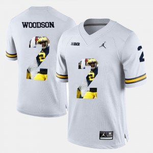 #2 Charles Woodson Michigan Wolverines For Men's Player Pictorial Jersey - White