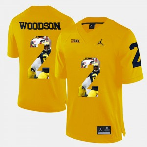 #2 Charles Woodson Michigan Wolverines Men's Player Pictorial Jersey - Yellow