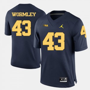 #43 Chris Wormley Michigan Wolverines College Football Men's Jersey - Navy Blue