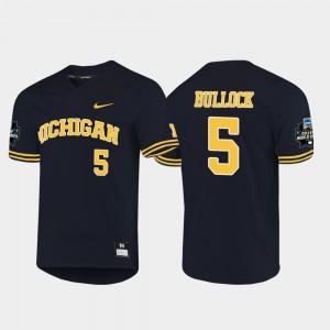 #5 Christan Bullock Michigan Wolverines Men 2019 NCAA Baseball College World Series Jersey - Navy