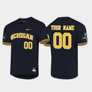 #00 Michigan Wolverines For Men 2019 NCAA Baseball College World Series Customized Jerseys - Navy