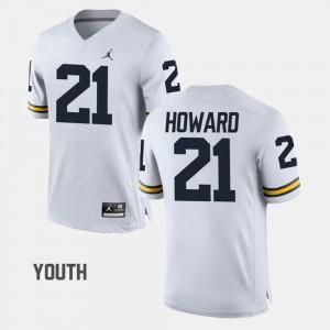 #21 desmond Howard Michigan Wolverines College Football Youth(Kids) Jersey - White