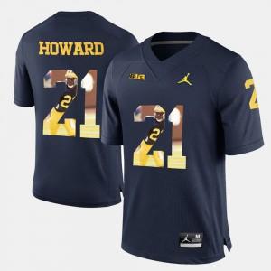 #21 Desmond Howard Michigan Wolverines Mens Player Pictorial Jersey - Navy Blue