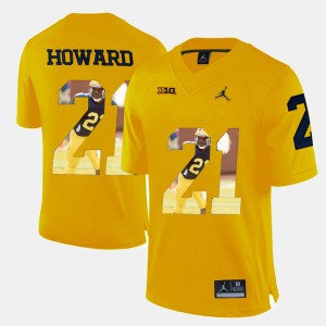 #21 Desmond Howard Michigan Wolverines Player Pictorial For Men Jersey - Yellow