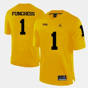 #1 Devin Funchess Michigan Wolverines For Men's College Football Jersey - Yellow