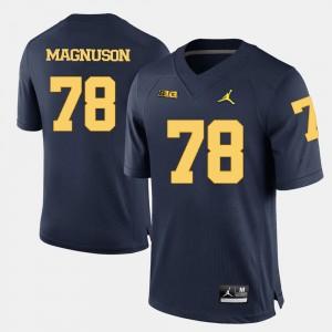 #78 Erik Magnuson Michigan Wolverines College Football Men's Jersey - Navy Blue