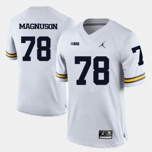 #78 Erik Magnuson Michigan Wolverines Men College Football Jersey - White