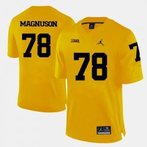 #78 Erik Magnuson Michigan Wolverines College Football Men Jersey - Yellow