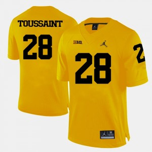 #28 Fitzgerald Toussaint Michigan Wolverines College Football For Men's Jersey - Yellow
