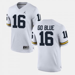 #16 GO BLUE Michigan Wolverines For Men's Alumni Football Game Jersey - White