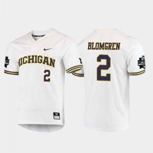 #2 Jack Blomgren Michigan Wolverines Men's 2019 NCAA Baseball College World Series Jersey - White