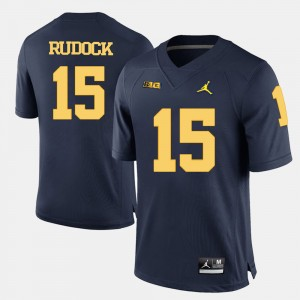 #15 Jake Rudock Michigan Wolverines College Football Mens Jersey - Navy Blue