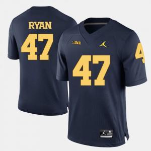 #47 Jake Ryan Michigan Wolverines College Football For Men's Jersey - Navy Blue