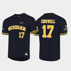#17 Jeff Criswell Michigan Wolverines 2019 NCAA Baseball College World Series Men Jersey - Navy