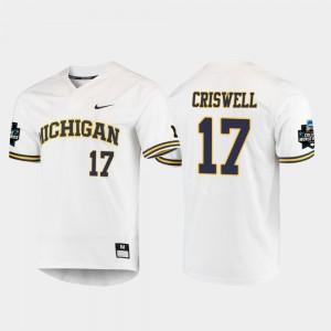 #17 Jeff Criswell Michigan Wolverines 2019 NCAA Baseball College World Series Men Jersey - White