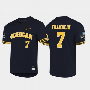 #7 Jesse Franklin Michigan Wolverines Men 2019 NCAA Baseball College World Series Jersey - Navy