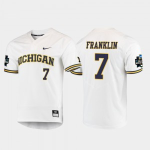 #7 Jesse Franklin Michigan Wolverines For Men 2019 NCAA Baseball College World Series Jersey - White