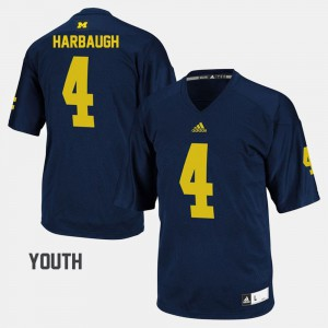 #4 Jim Harbaugh Michigan Wolverines College Football For Kids Jersey - Navy