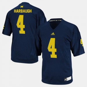 #4 Jim Harbaugh Michigan Wolverines College Football Men's Jersey - Navy