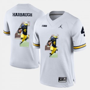 #4 Jim Harbaugh Michigan Wolverines Player Pictorial Mens Jersey - White
