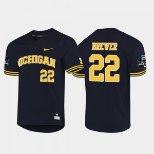 #22 Jordan Brewer Michigan Wolverines 2019 NCAA Baseball College World Series Men Jersey - Navy